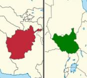 Maps of Afghanistan and South Sudan