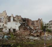 Damaged hospital